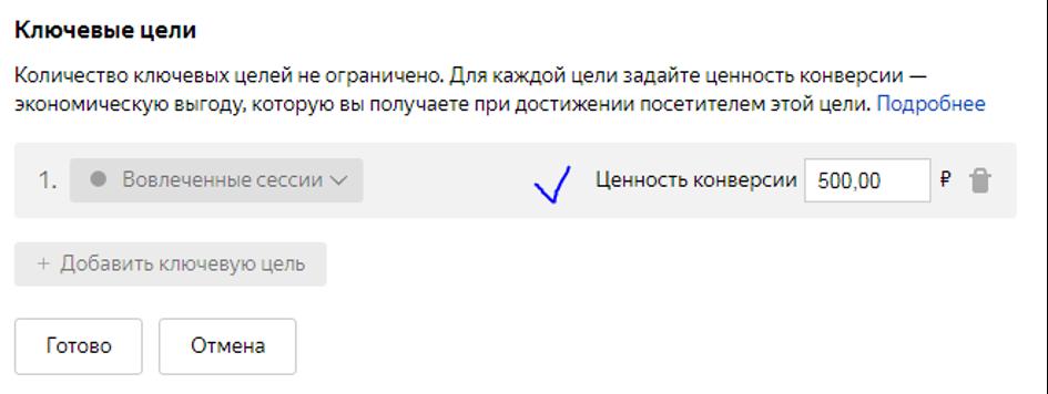 Настройка целей в Яндекс.Директе